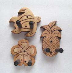 Tropical ukulele wall mount hangers 3 pack by ToucanMango on Etsy