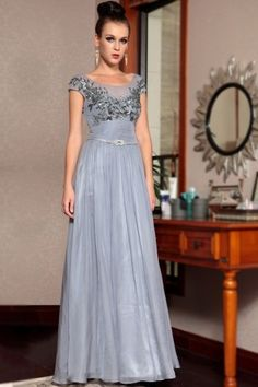 Edele round-neck Sequin Chiffon evening dress