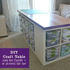 and Sewing Room Ideas DIY Craft Table - PLUS storage space. Cube shelves put together with a top.DIY Craft Table - PLUS storage space. Cube shelves put together with a top. Craft Tables With Storage, Craft Room Storage, Storage Spaces, Craft Rooms, Storage Ideas, Table Storage, Diy Storage, Storage Cubes, Fabric Storage