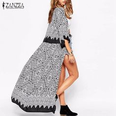 Boho ZANZEA Autumn 2016 New Arrival Women Blouses Tops Loose Half Sleeve Print Long Kimono Cardigan Blusas Beach Thin Outerwear