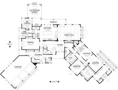 Craftsman Style House Plan - 5 Beds 5.5 Baths 5250 Sq/Ft Plan #48-466 Floor Plan - Main Floor Plan - Houseplans.com