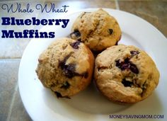 """This blueberry muffin recipe is super-simple, (practically) fool-proof, and makes you the """"muffin hero"""" in less than a half-an-hour! Even more, I love that this recipe is fairly healthy, using intentional ingredients to make a more nutritious muffin."""