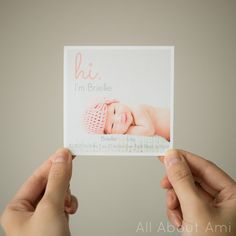 Super cute birth announcements made from Stephanie on her blog All About Ami.   Check out the link & see how to make your own!