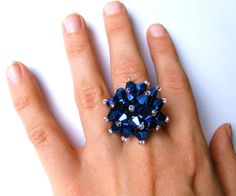 Blue adjustable ring - Special Effects Blue Peacock Faceted Crystals