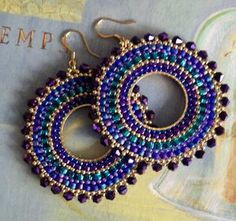 Beaded Hoop Earrings Metallic Plum GODDESS Crystal and Seed