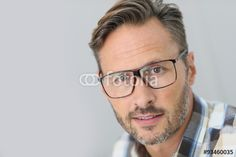 """Portrait of handsome 40-year-old man with eyeglasses"""" Stock photo ..."""