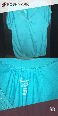 Lane Bryant - NWOT - Plus size 2x blue-green top Lane Bryant - NWOT - Plus Size 18/20 (2x) cotton top. Bought and never worn Lane Bryant Tops Tees - Short Sleeve