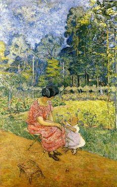 """""""Femme et enfant dans un jardin"""", by Edouard Vuillard"""