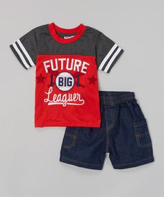 Look at this #zulilyfind! Red & Gray Baseball Tee & Denim Shorts - Infant by Longstreet #zulilyfinds