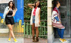 Looks Bruna Gullaci com terceira peça, jaqueta jeans, colete de tricô com franjas e poncho étnico. -  Third piece , white knit vest, denim jacket and ethnic poncho  #lookdodia #brunagullaci #blogger
