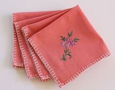 . Cotton Napkins, Cloth Napkins, Colors Name In English, Blanket Stitch, Well Dressed, Color Combos, My Etsy Shop, Coral, Embroidery