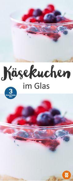 Käsekuchen im Glas   3 SmartPoints/Portion, Weight Watchers, Desserts, Kuchen, schnell fertig in 10 min.