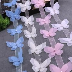 Cheap Lace, Buy Directly from China Butterfly Organza Lace For Dress Ribbon Lace Trim Knitting Wedding Embroidered DIY Butterfly Birthday Party, Butterfly Baby Shower, Ribbon Crafts, Paper Crafts, Diy Crafts, Diy Flowers, Paper Flowers, Girl Baby Shower Decorations, Christmas Wreaths To Make