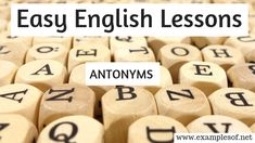 Example of Antonyms - Easy english lessons