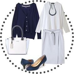 コーディネート 画像 3742203 春コーデ tシャツ ラップスカート パンプス カーディガン バッグ ネックレス 骨格診断 骨格診断ストレート 骨格ストレート パーソナルカラーサマー パーソナルカラー 30代コーデ きれいめコーデ 通勤コーデ 春色 Work Fashion, Spring Fashion, Work Attire, Fasion, Blue Denim, Your Style, Cute Outfits, Womens Fashion, Casual
