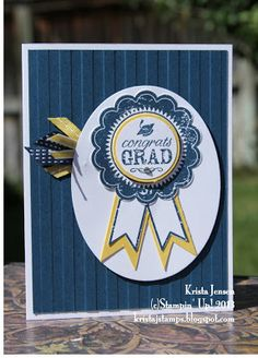 handmade graduation card from Krista's Stamper Room: Grad Season ... blue ribbon design ... blue with white and yellow ... like it! ... Stampin'Up!