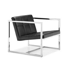 Like a chiseled clotheshorse walking down a Milan runway on fashion week, this chair celebrates angles in all its glory. The perfectly angled leatherette tufted seat and back contrast with the stark sh...  Find the Angles Chair in Black, as seen in the The Modern Industrial Geodome Collection at http://dotandbo.com/collections/the-modern-industrial-geodome?utm_source=pinterest&utm_medium=organic&db_sku=ZUO0114-blk