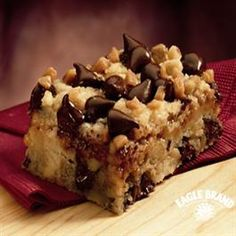 Chocolate Chip Toffee Bars from Eagle Brand®    Crisco® Original No-Stick Cooking Spray  2 1/2 cups Pillsbury BEST® All Purpose Flour  2/3 cup firmly packed brown sugar  3/4 cup butter  1 large egg, slightly beaten  2 cups (12 oz. pkg.) semi-sweet chocolate chips, divided  1 cup coarsely chopped nuts  1 (14 oz.) can Eagle Brand® Sweetened Condensed Milk  1 (8 oz.) package toffee baking bits