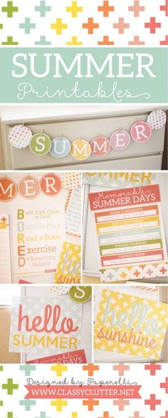 Summer Printables from Classy Clutter | Paper banner, signs, and other fun art