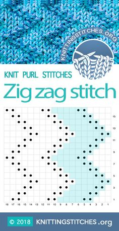 Zig Zag Stitch Zick Zack Stitch Rick Rack Stitch Skill level Easy Multiple of 6 sts Techniques used Knit and Purl knitting Zag Zig Knit Purl Stitches, Knitting Stiches, Knitting Blogs, Knitting For Beginners, Loom Knitting, Knitting Projects, Knitting Tutorials, Knitting Machine, Free Knitting