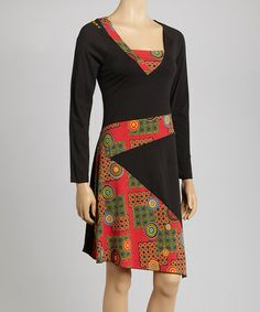 Take a look at this Black & Red Graphic Dress by Coline USA on #zulily today!
