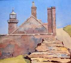 Calf of Man Lighthouse Watercolours, Watercolor Paintings, Peter Robinson, Manx, Paintings I Love, Lighthouse, My Arts, Artists, Bell Rock Lighthouse