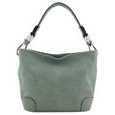 Hobo Shoulder Bag with Big Snap Hook Hardware (Sage Green): Handbags: Amazon.com