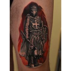 The Medieval topic is not covered so well in tattoo art as it should be, but such great tattoo ideas as the Crusader Knight Tattoo on Thigh by Radu Rusu will Soul Tattoo, I Tattoo, Templar Knight Tattoo, English Knights, Crusader Knight, Warriors T Shirt, Knights Templar, Great Tattoos, Tattoo Designs