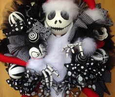 Nightmare Before Christmas inspired Jack Skellington Sandy Claws Wreath