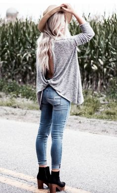 open back tops + denim