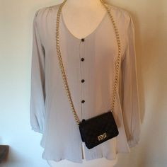 """Yumi Kim Silver Silk Blouse Silver 100% silk blouse has 6 black & gold buttons down the front. Sleeves button. Looks great """"untucked""""  as well! Measures 24"""" inches in front and 27"""" inches in back. No stains or marks. Just cleaned & pressed. Yumi Kim Tops Blouses"""