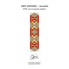 peyote pattern red summer bracelet por tipikabeadwork en Etsy