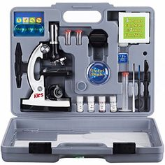 AMSCOPE-KIDS M30-ABS-KT2-W Microscope Kit with Metal Arm and Base, 6 Magnifications from 20x to 1200x, Includes 52-Piece Accessory Set and Case, Awarded The 2016 Top Pick of Microscopes For Beginners - The AmScope M30-ABS-KT2-W beginner compound microscope has a monocular viewing head with LED and mirror illumination, a built-in color-filter wheel, a forward-facing rotating turret with 300x, 600x, and 1200x magnification, and a white metal frame. The monocular viewing head has LED and mirror…