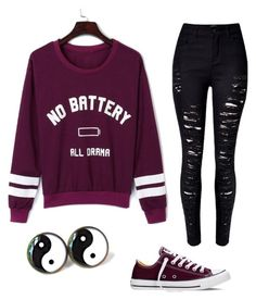 """School ¿"" by lexispolo on Polyvore featuring WithChic and Converse"