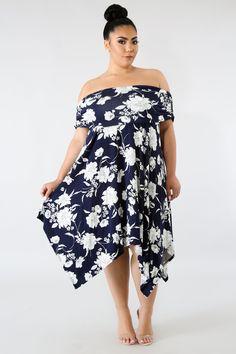 9564063096 Navy Floral Print Off Shoulder Curvy Dress. Fashion XOXO