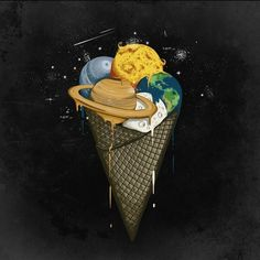 Galactic Ice by Robert Richter. Ice Cream Poster, Ice Cream Art, Astronaut Illustration, Illustration Art, Galaxy Ice Cream, Mango Popsicles, Favim, Cute Wallpapers, Art Images