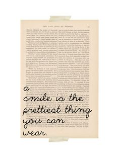 dictionary art vintage A Smile is the Prettiest Thing You Can Wearprint - vintage art book page print - motivational print