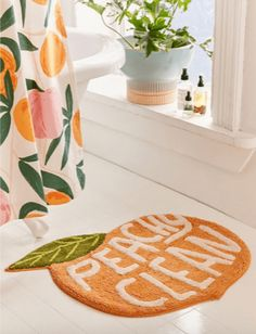 Shop Peachy Clean Bath Mat at Urban Outfitters today. We carry all the latest styles, colors and brands for you to choose from right here. Bath Rugs, Bathroom Rugs, Small Bathroom, Bathroom Ideas, Master Bathroom, Bathroom Inspo, Washroom, Bathroom Remodeling, Bright Bathrooms