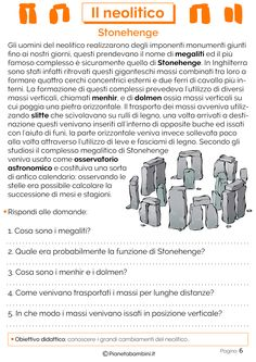 Il Neolitico: Schede Didattiche per la Scuola Primaria | PianetaBambini.it Romans For Kids, Reading Practice, Stonehenge, Ancient Greece, Problem Solving, Middle School, Education, Memes, 3