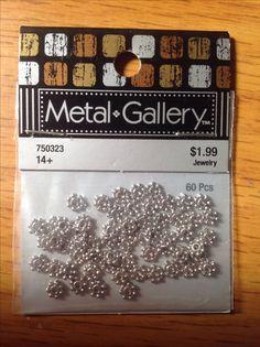 Metal Gallery 60 pcs. Small dot rondel.  Hobby Lobby.