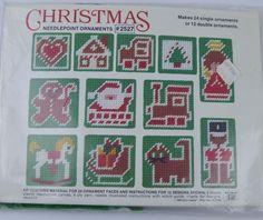 Vintage Christmas Needlepoint Ornaments Plastic Canvas Kit Sealed Makes 24 Studio 12
