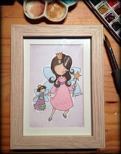 Illustration by Andréa JAUBERT Watercolor The Princess and her doll