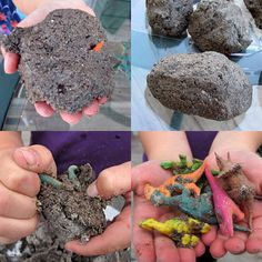 dinosaur eggs - dirt, sand, flour, salt, and water