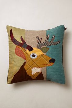 Shop for Patchwork Forest Creature Pillow by Anthropologie at ShopStyle. Applique Cushions, Sewing Pillows, Wool Applique, Dog Pillows, Deer Pillow, Textiles, Stag Cushion, Animal Cushions, Cushions To Make