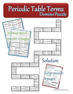 Periodic Table of Elements Terms - A Chemistry Domino Puzzle (2-sizes, with solutions!). Use this with your class to review the following vocabulary words necessary for a solid understanding of Chemistry: atomic number, atomic mass, group, period, electron, proton, neutron, nucleus, valence shell, ionic bond, covalent bond, cation, anion, metals, non-metals, metalloids, Alkali Metals, Alkaline Earth Metals, Halogens, Noble Gases, ionic charge and subscript