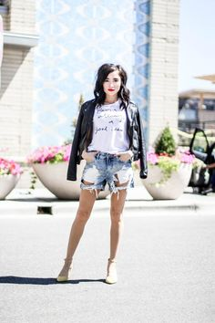 There's really nothing better than a new graphic white tee, a black leather jacket, and statement heels in August. Can you believe that it's already August? #ParisIsAlwaysAGoodIdea #KarissaMarie