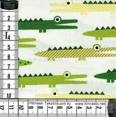 E468 tilkkutyökangas 50x110cm PALA -krokotiilit, luonnonvalk. tausta