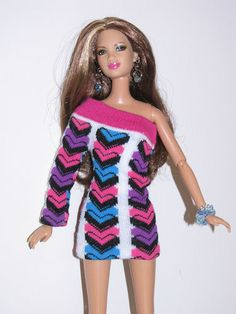 Look - a dress made from a child's sock - LOVE THIS IDEA!  OOAK Barbie Mini Sweater Dress Handmade | eBay