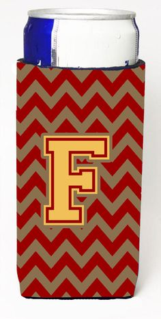 Letter F Chevron Garnet and Gold Ultra Beverage Insulators for slim cans CJ1048-FMUK