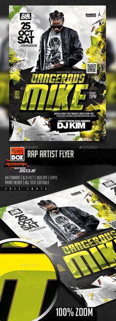 Rap Artist Flyer  — PSD Template #monkeybox • Download ➝ https://graphicriver.net/item/rap-artist-flyer/18361915?ref=pxcr